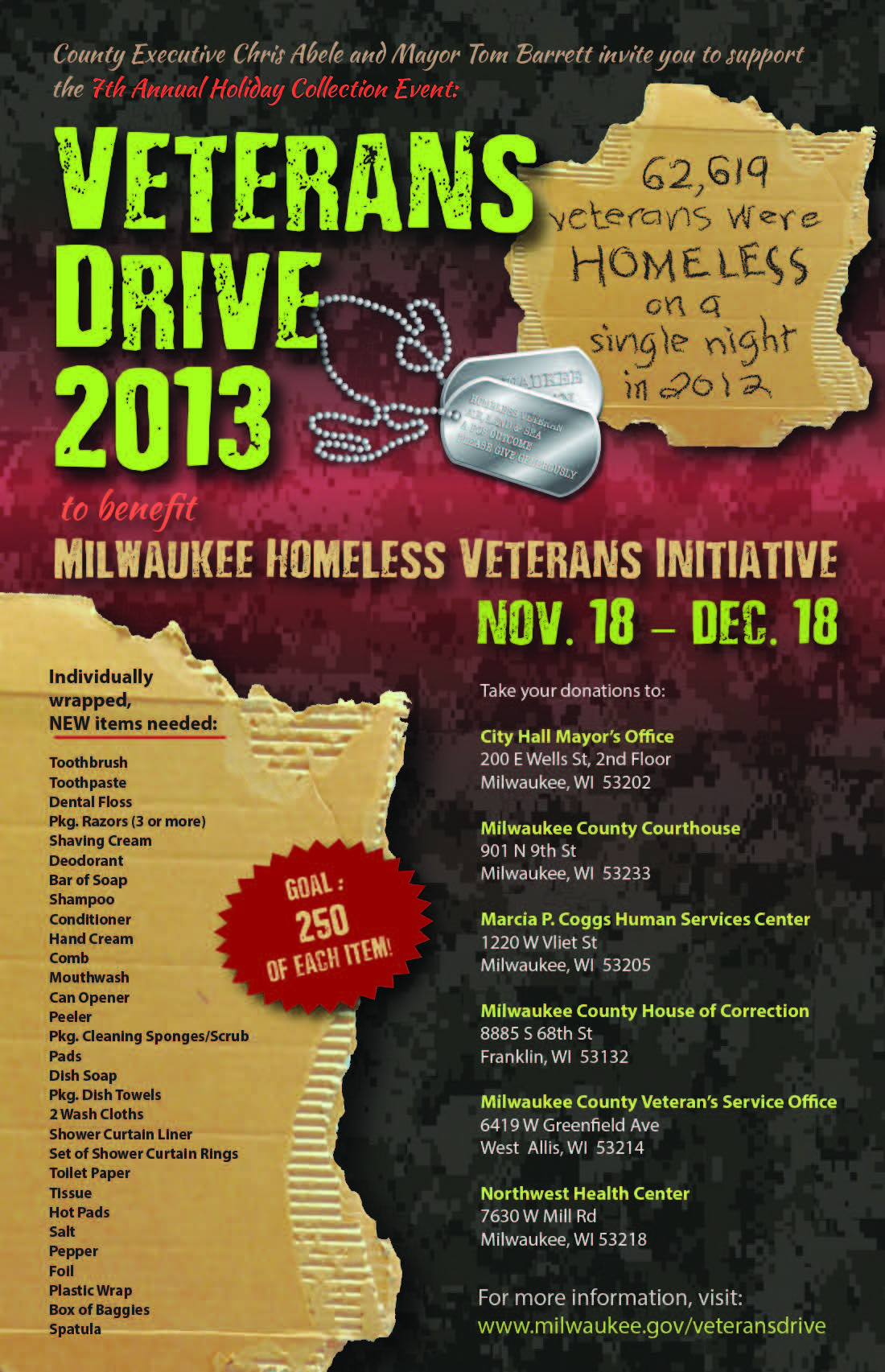 Holiday Veterans Drive 2013