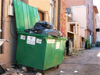Image of alley with green dumpster overflowing with trash.
