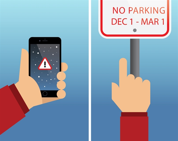 Illustration on left of hand holding phone with alert symbol on it and illustration on the right of hand pointing to parking regulations sign.